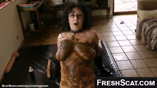 Hot MILF Sucks Cock With Shit All Over Her Sexy Body And Big Tits