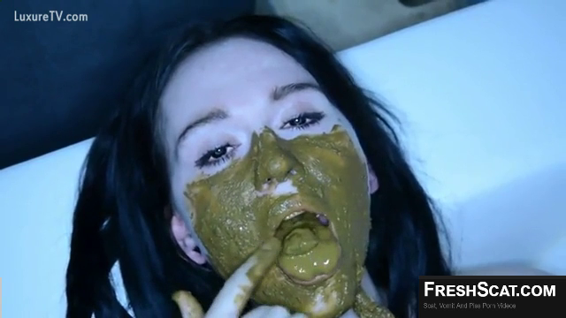 Hot Girl Smears Shit All Over Her Face And Body Then Eats And Swallows A Bunch Of Poop On Webcam