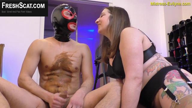 Amazing Scat Mistress Helps Her Slave Get Off After Shitting On Him During Live Webcam Scat Scene