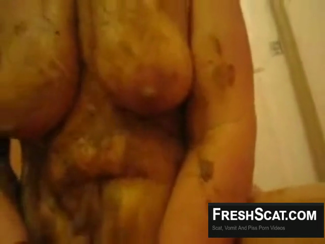 Plays With Her Tits And Smears Shit Everywhere After She Poops On His Cock During Webcam Scat Scene