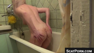 Thin And Fit Blonde With Big Tits Shits In Bathtub After Enema